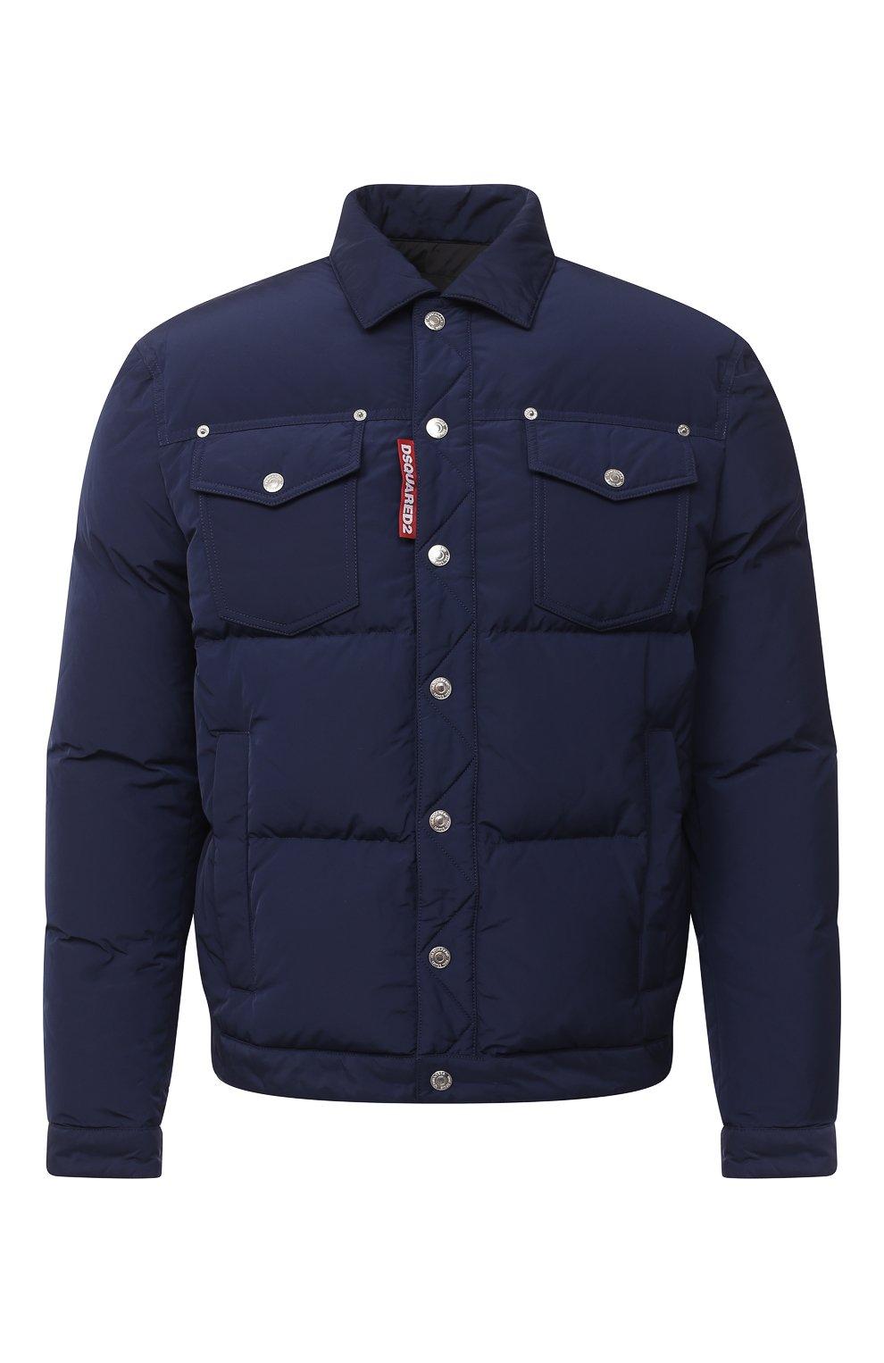 Мужская пуховая куртка DSQUARED2 темно-синего цвета, арт. S74AM1097/S53141   Фото 1