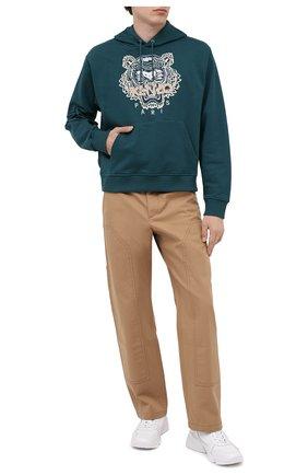 Мужской хлопковое худи KENZO темно-зеленого цвета, арт. FA65SW3104XA | Фото 2