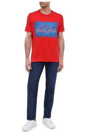 Мужская хлопковая футболка PAUL&SHARK красного цвета, арт. A20P1694/C00   Фото 2