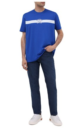 Мужская хлопковая футболка PAUL&SHARK синего цвета, арт. A20P1650/C00   Фото 2