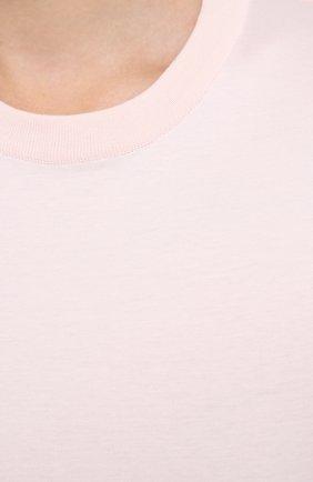 Женская хлопковая футболка LORO PIANA розового цвета, арт. FAI5069 | Фото 5