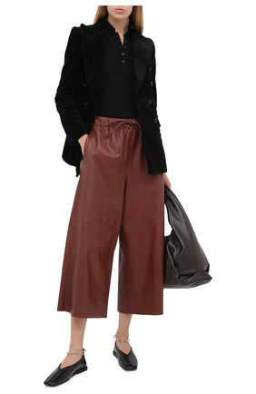 Женские кожаные брюки YVES SALOMON бордового цвета, арт. 9EYP234XXAPXX | Фото 2
