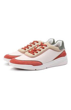 Женские кожаные кроссовки LORO PIANA оранжевого цвета, арт. FAL2810 | Фото 1