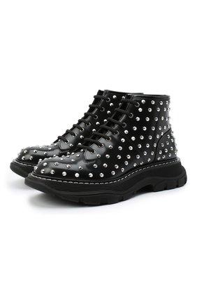 Женские кожаные ботинки ALEXANDER MCQUEEN черного цвета, арт. 595470/WHQSG | Фото 1