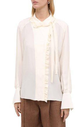 Женская шелковая блузка CHLOÉ бежевого цвета, арт. CHC20AHT20317   Фото 4