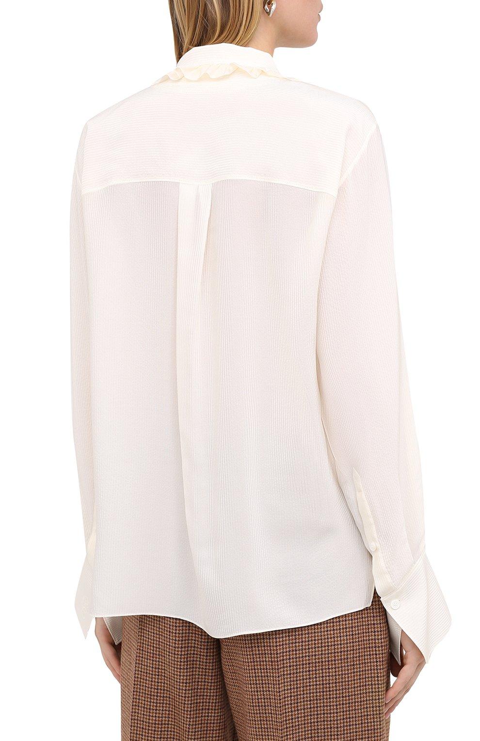 Женская шелковая блузка CHLOÉ бежевого цвета, арт. CHC20AHT20317   Фото 5