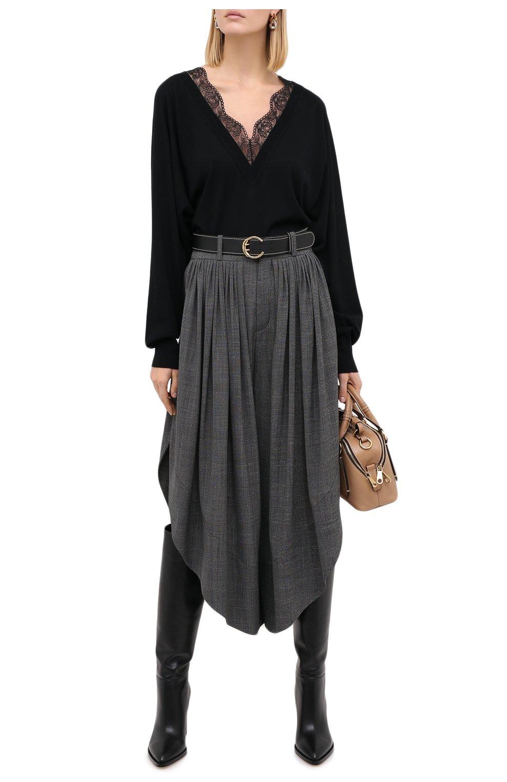 Женские шерстяные брюки CHLOÉ черного цвета, арт. CHC20APA23063 | Фото 2