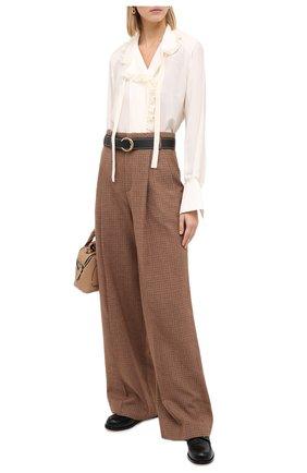 Женские шерстяные брюки CHLOÉ коричневого цвета, арт. CHC20APA48163 | Фото 2
