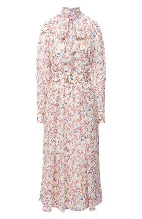 Женское шелковое платье CHLOÉ разноцветного цвета, арт. CHC20AR017330 | Фото 1 (Длина Ж (юбки, платья, шорты): Миди; Рукава: Длинные; Материал подклада: Шелк; Материал внешний: Шелк; Женское Кросс-КТ: Платье-одежда; Случай: Повседневный)