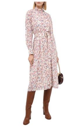 Женское шелковое платье CHLOÉ разноцветного цвета, арт. CHC20AR017330 | Фото 2 (Длина Ж (юбки, платья, шорты): Миди; Рукава: Длинные; Материал подклада: Шелк; Материал внешний: Шелк; Женское Кросс-КТ: Платье-одежда; Случай: Повседневный)
