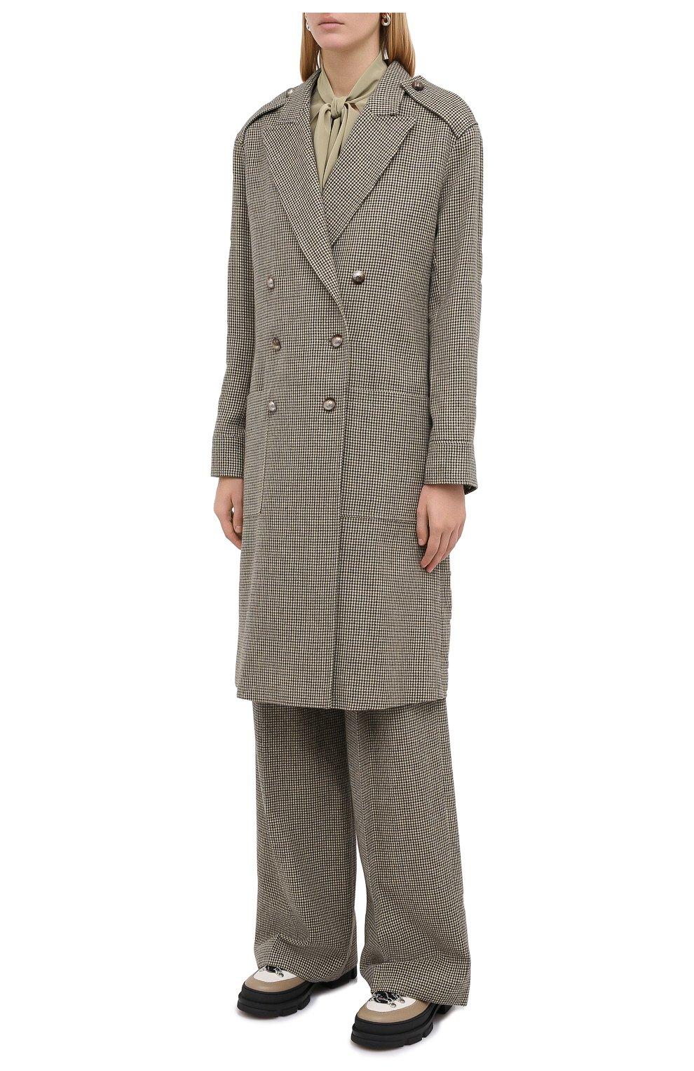 Женское шерстяное пальто CHLOÉ зеленого цвета, арт. CHC20AVE14163 | Фото 4