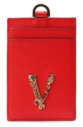 Женский кожаный футляр для кредитных карт virtus VERSACE красного цвета, арт. DP3H672V/DVT2 | Фото 1 (Материал: Кожа)