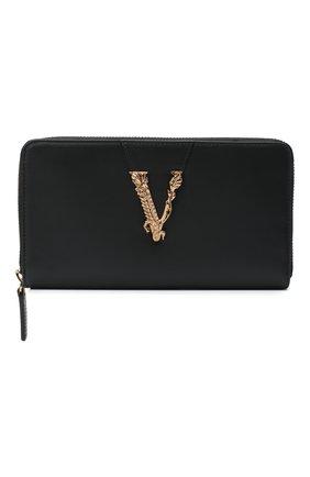 Женские кожаный кошелек VERSACE черного цвета, арт. DPDG326V/D7VIT | Фото 1