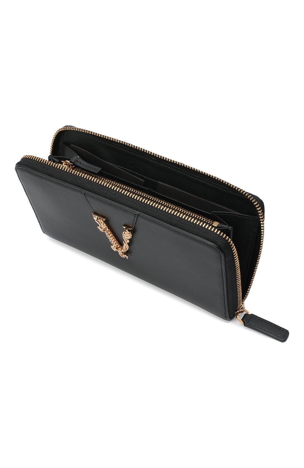Женские кожаный кошелек VERSACE черного цвета, арт. DPDG326V/D7VIT | Фото 3