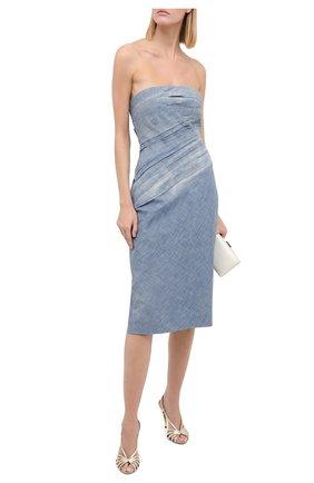 Женское хлопковое платье RALPH LAUREN голубого цвета, арт. 290798633 | Фото 2