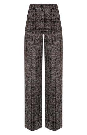 Женские брюки из шерсти и хлопка DOLCE & GABBANA коричневого цвета, арт. FTBM0T/FQMH2 | Фото 1