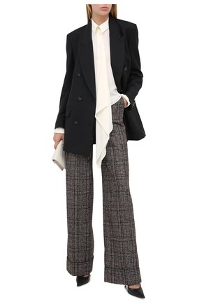 Женские брюки из шерсти и хлопка DOLCE & GABBANA коричневого цвета, арт. FTBM0T/FQMH2 | Фото 2
