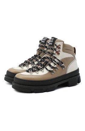 Женские комбинированные ботинки GANNI бежевого цвета, арт. S1280   Фото 1