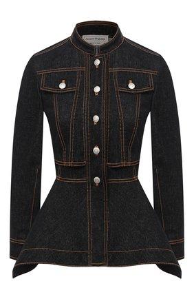 Женский джинсовый жакет ALEXANDER MCQUEEN черного цвета, арт. 628168/QMAA2 | Фото 1