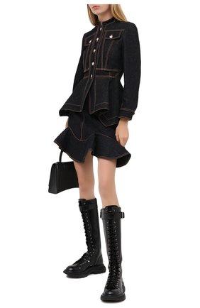 Женский джинсовый жакет ALEXANDER MCQUEEN черного цвета, арт. 628168/QMAA2 | Фото 2