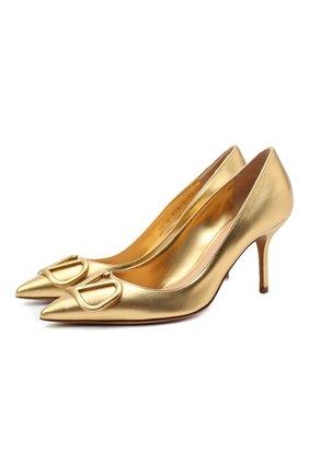 Женская кожаные туфли valentino garavani vlogo VALENTINO золотого цвета, арт. UW2S0R78/WZI   Фото 1
