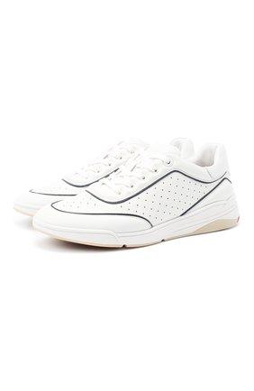 Женские кожаные кроссовки LORO PIANA белого цвета, арт. FAL2805   Фото 1