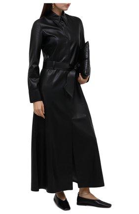 Женские кожаные балетки JIL SANDER черного цвета, арт. JS30217A-12010 | Фото 2
