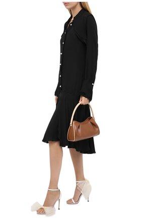 Женские текстильные босоножки aveline 100 JIMMY CHOO кремвого цвета, арт. AVELINE 100/YMG | Фото 2