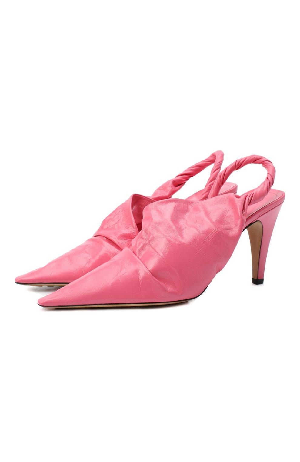 Женские кожаные туфли bv point BOTTEGA VENETA розового цвета, арт. 630183/VBP10   Фото 1