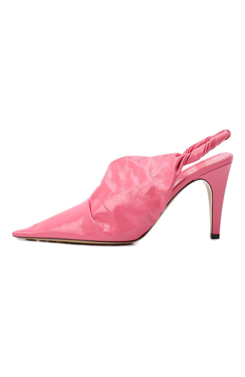 Женские кожаные туфли bv point BOTTEGA VENETA розового цвета, арт. 630183/VBP10   Фото 3