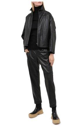Женские кожаные брюки BRUNELLO CUCINELLI черного цвета, арт. M0TANP7414 | Фото 2