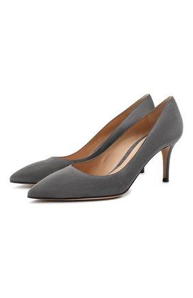 Женские замшевые туфли gianvito 70 GIANVITO ROSSI серого цвета, арт. G26770.70RIC.CAMLAPI | Фото 1