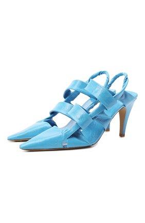 Женские кожаные туфли bv point BOTTEGA VENETA голубого цвета, арт. 630187/VBP10 | Фото 1