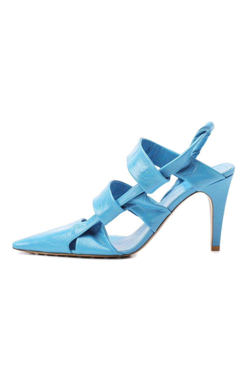 Женские кожаные туфли bv point BOTTEGA VENETA голубого цвета, арт. 630187/VBP10 | Фото 3
