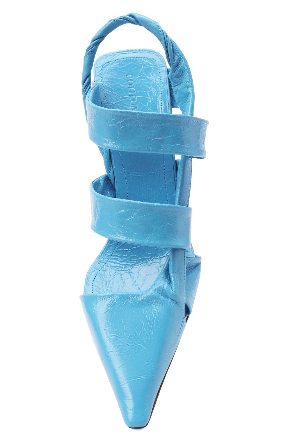 Женские кожаные туфли bv point BOTTEGA VENETA голубого цвета, арт. 630187/VBP10 | Фото 5