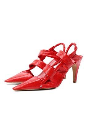 Женская кожаные туфли bv point BOTTEGA VENETA красного цвета, арт. 630187/VBP10 | Фото 1