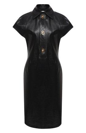 Женское кожаное платье BOTTEGA VENETA черного цвета, арт. 632924/VKB80 | Фото 1