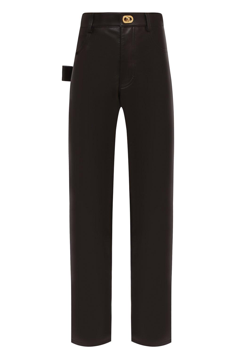 Женские кожаные брюки BOTTEGA VENETA коричневого цвета, арт. 630725/VKV90   Фото 1