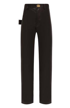 Женские кожаные брюки BOTTEGA VENETA коричневого цвета, арт. 630725/VKV90 | Фото 1