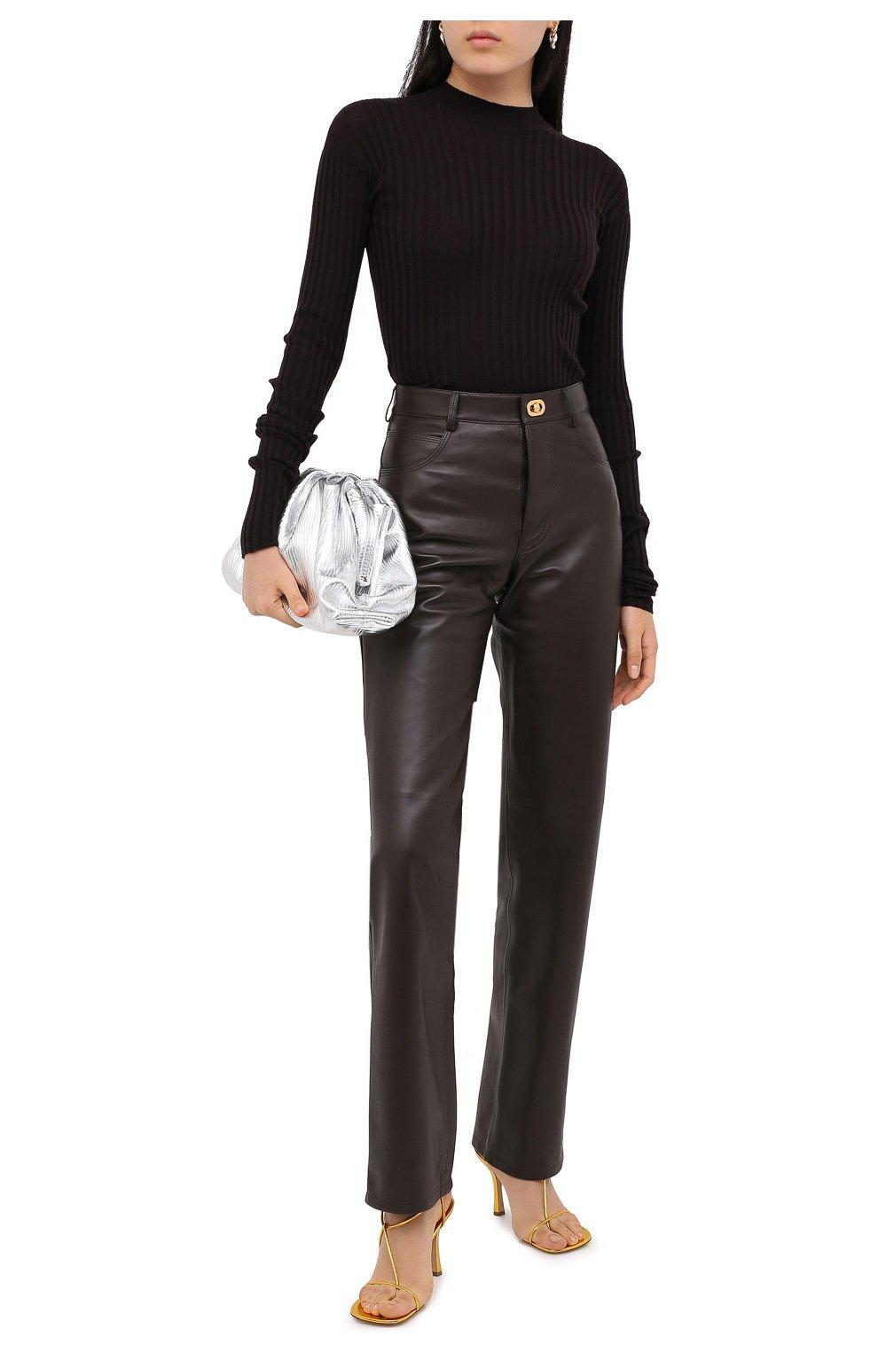 Женские кожаные брюки BOTTEGA VENETA коричневого цвета, арт. 630725/VKV90   Фото 2