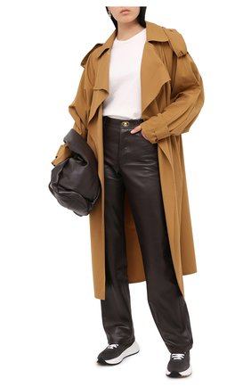 Женские кожаные брюки BOTTEGA VENETA коричневого цвета, арт. 630725/VKV90   Фото 3