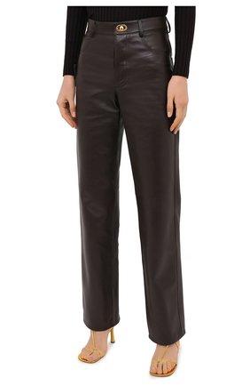 Женские кожаные брюки BOTTEGA VENETA коричневого цвета, арт. 630725/VKV90   Фото 4