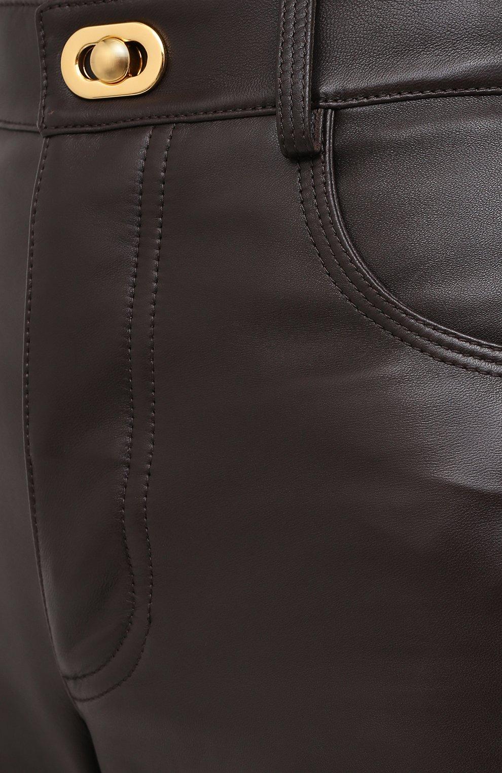 Женские кожаные брюки BOTTEGA VENETA коричневого цвета, арт. 630725/VKV90   Фото 6