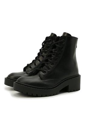 Женские кожаные ботинки pike KENZO черного цвета, арт. FA62BT341L63 | Фото 1 (Подошва: Платформа; Материал утеплителя: Натуральный мех; Женское Кросс-КТ: Военные ботинки; Каблук высота: Низкий)