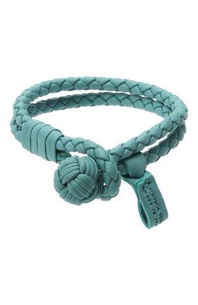 Женский кожаный браслет BOTTEGA VENETA голубого цвета, арт. 612982/V00BG | Фото 1