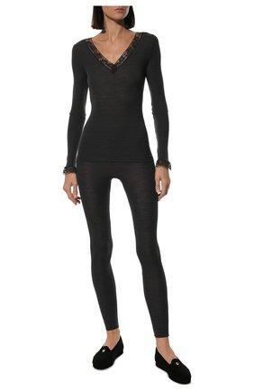 Женского домашние туфли LORO PIANA черного цвета, арт. FAG4785 | Фото 2
