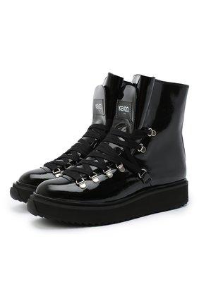 Женские кожаные ботинки alaska KENZO черного цвета, арт. FA62BT301L64 | Фото 1 (Подошва: Платформа; Материал утеплителя: Натуральный мех; Женское Кросс-КТ: Хайкеры-ботинки)
