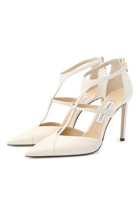 Женская кожаные туфли saoni 100 JIMMY CHOO белого цвета, арт. SA0NI 100/NAP | Фото 1