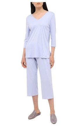 Женская хлопковая пижама HANRO голубого цвета, арт. 076791 | Фото 1