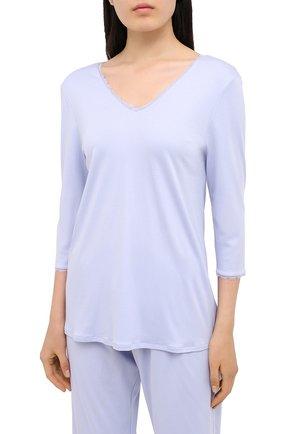 Женская хлопковая пижама HANRO голубого цвета, арт. 076791 | Фото 2